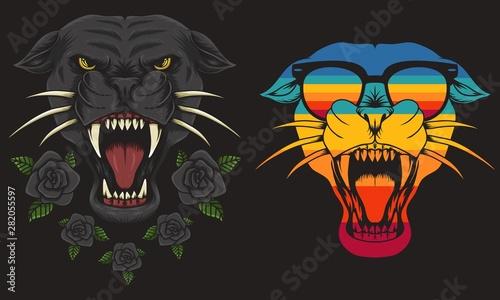 Vászonkép  Panther cool Retro vector illustration