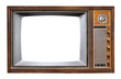 canvas print picture - Vintage television - antique wooden box television with cut out frame screen isolate on white with clipping path for object, retro technology