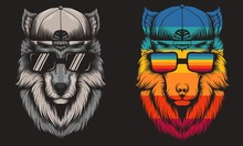 Wolf Cool Retro Vector Illustr...
