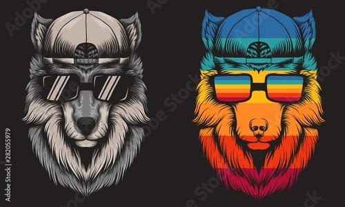 Obraz na płótnie Wolf cool Retro vector illustration