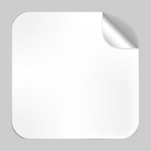 Square Blank White Sticker With Peeled Off Corner, Vector Mockup. Foil Or Paper Label Template