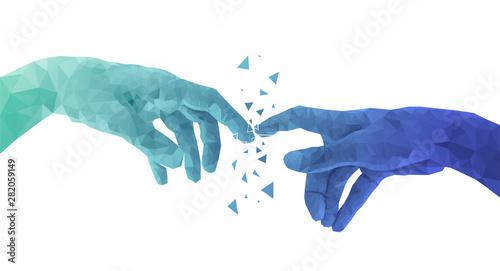 Fotomural  mani, contatto, connessioni, internet,