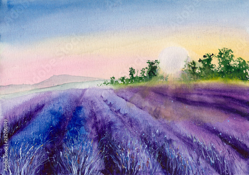 Foto auf Leinwand Rosa hell Watercolor picture of purple lavender field in sunset with trees on the horizon