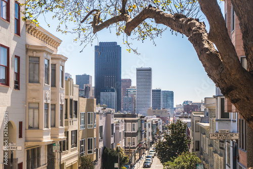San Francisco, California, USA - MARCH 15 2019: View of the SF streets close to the Financial District