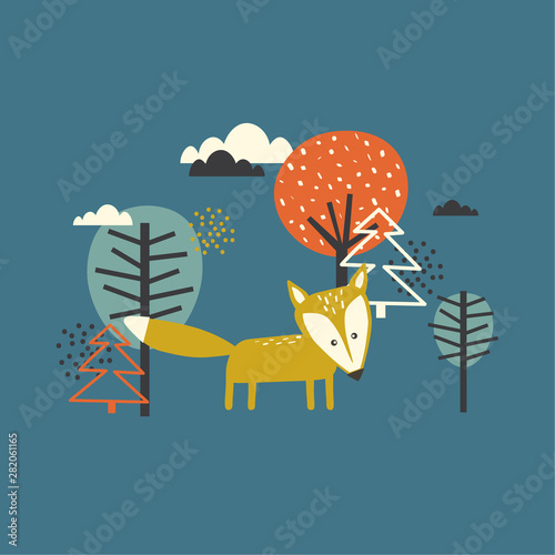 Colorful background, fox and trees. Hand drawn  backdrop vector. Illustration with animal, forest. Decorative wallpaper, good for printing
