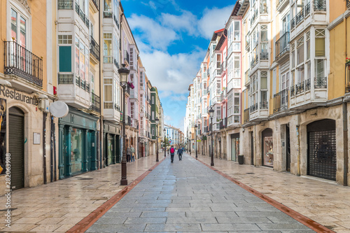 streets of burgos city and cathedral at background
