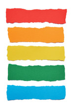 Collection Of Multicolored Paper Stripes With Torn Edges Isolated On White Background
