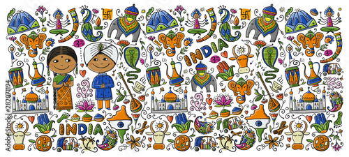 Fototapeta Indian lifestyle. Sketch for your design obraz