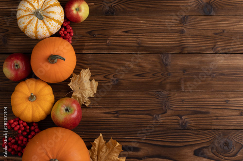 Autumn harvest on wooden table
