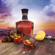 Bottle And Glasses On  Table,  Rum In Transparent Bottle, Wooden Background.