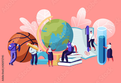 Stampa su Tela Teachers Characters with Educational Tools and Stationery as Ball Globe Books