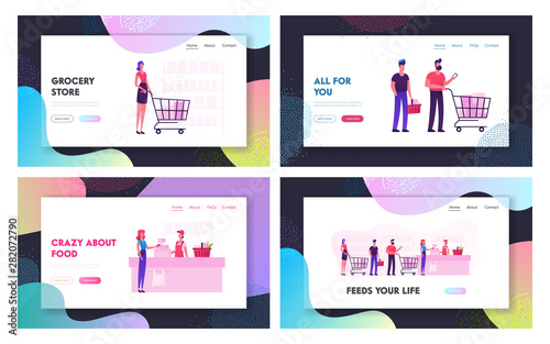 Fototapety, obrazy: People in Supermarket Website Landing Page Set. Customers Stand in Grocery Queue with Goods in Shopping Trolley Put Buys on Cashier Desk for Paying Web Page Banner. Cartoon Flat Vector Illustration