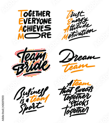 Team typography poster set. Vector Typography Banner Design Concept
