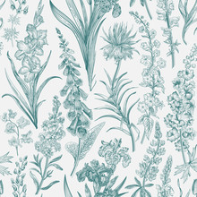 Lovely Garden. Vintage Seamless Pattern. Spring And Summer Garden Flowers. Emerald And White. Toile De Jouy. ..