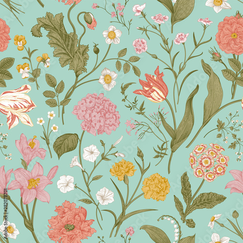 Vászonkép Seamless vector floral pattern. Shabby Chic. Classic illustration