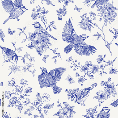 obraz lub plakat Seamless pattern. Classis vintage illustration. Blossom garden with tits. Birds and flowers. Chinoiserie