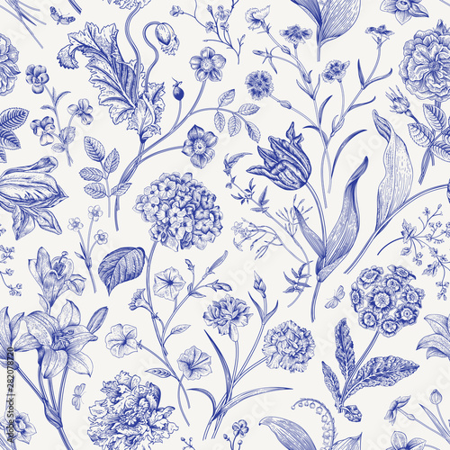 Seamless vector floral pattern. Classic illustration. Toile de Jouy - 282078720