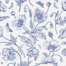 Vintage Floral Illustration. Seamless Pattern. Poppies With Butterflies. Blue And White