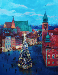 Obraz na Szkle Warszawa Beautiful winter urban landscape old csquare and walking people . Europe. Oil painting on canvas.