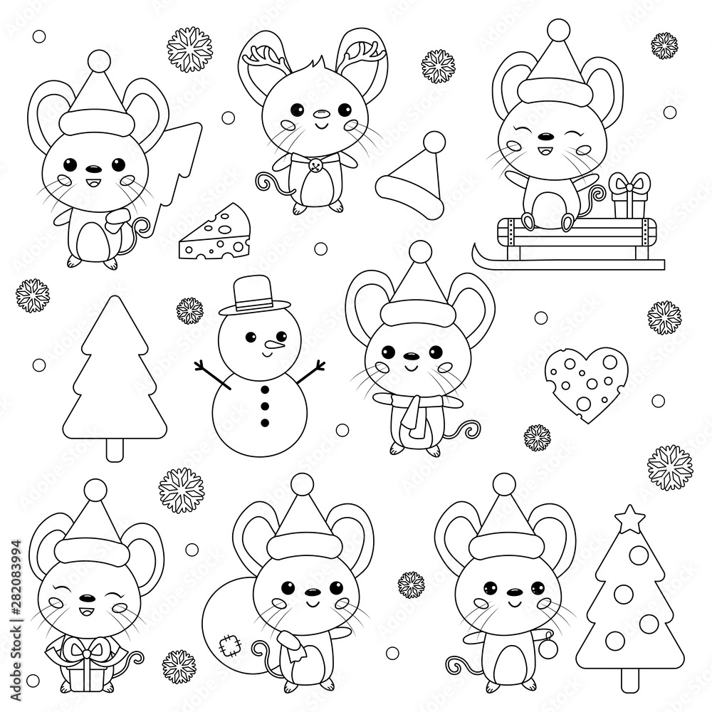 Vector set of New Year symbol - rat. Cute cartoon kawaii mouse characters. Christmas theme. Coloring page for kids. Outline rodent. Winter collection.