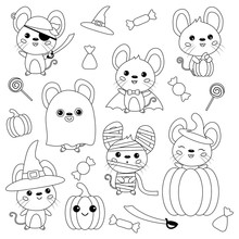 Vector Set Of Halloween Mouse....