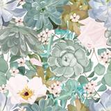 Wzór z soczyste kwiaty i liście. Akwarela. Wektor, EPS 10. - 282087788