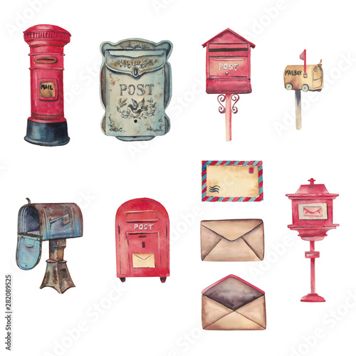 Fotografie, Obraz  Watercolor handdrawn set with letters, red and blue retro mailboxes isolated on