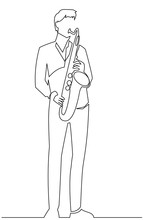 Continuous Line Drawing Of Musician Plays Saxophone Vector Illustration Isolated On White.