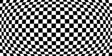 Magnifier Or Fish Eye Distortion Effects On Checkered Pattern, Monochrome Black And White EPS10 Vector Background.