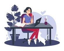 Woman Using Laptop Flat Vector...