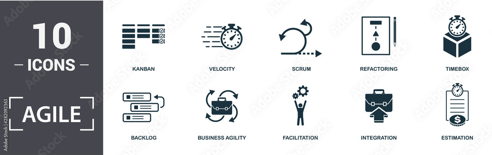 Fototapeta Agile icon set. Contain filled flat Backlog ,Business Agility ,Estimation ,Facilitation ,Integration ,Kanban ,Refactoring ,Scrum ,Timebox ,Velocity icons. Editable format