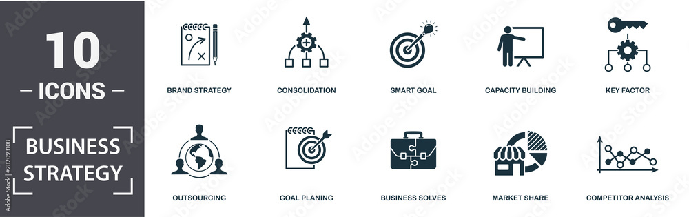 Fototapeta Business Strategy icon set. Contain filled flat business solves, brand strategy, competitive strategy, goal planing, competitor analysis, consolidation icons. Editable format