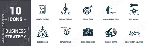 Fotografie, Obraz  Business Strategy icon set