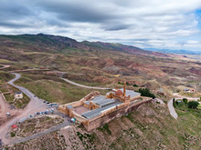 Aerial View Of Ishak Pasha Palace, It Is A Semi-ruined Palace And Administrative Complex Located In The Dogubeyazit, Agri Province Of Eastern Turkey. Ottoman, Persian, And Armenian Architectural Style