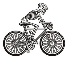 Vector Illustration Of A Skeleton On The Bicycle
