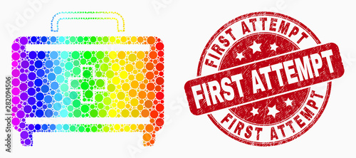 Dotted spectrum first aid case mosaic pictogram and First Attempt seal stamp Wallpaper Mural