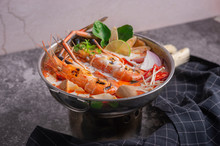 Tom Yum Kung. Thai Food Style Seafood Hot Pot. Traditional Thai Style Food