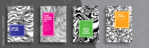 Fototapeta Modern abstract covers set. Cool gradient shapes composition. Frame for text Modern Art graphics. design business cards, invitations, gift cards, flyers ,brochures, banner obraz