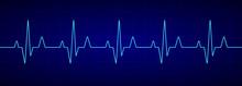 Heartbeat Line. Blue Cardiogra...