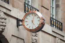 Closeup Of Vintage Clock In The Street