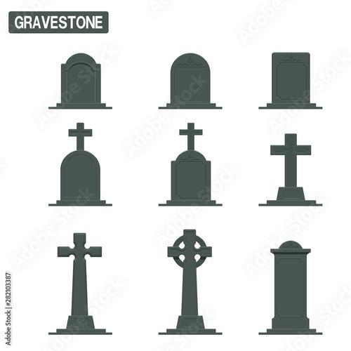 Valokuvatapetti Set of gravestone on transparent background