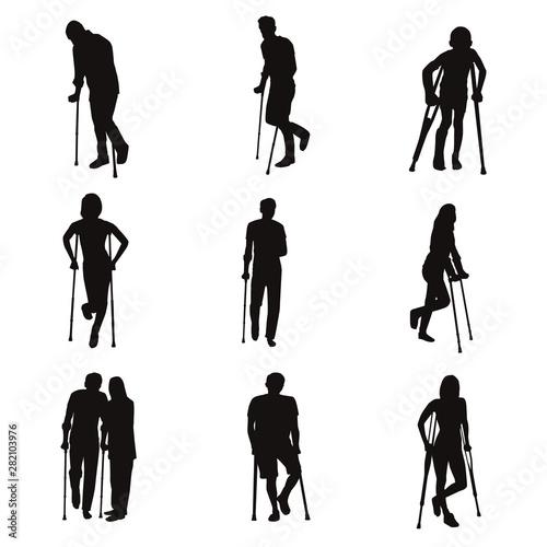 Cuadros en Lienzo Injured People Walk On Crutches