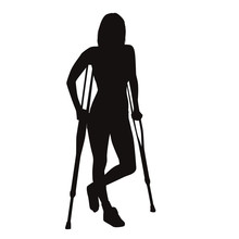 Injured Woman Walk On Crutches
