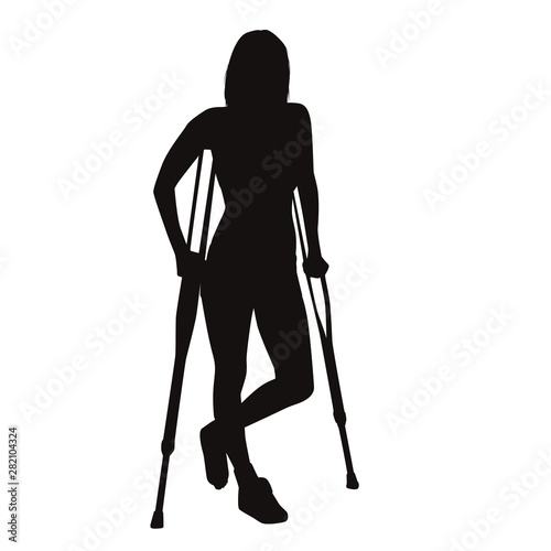 Injured Woman Walk On Crutches Wallpaper Mural