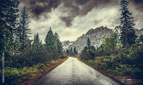 Road in the mountains on a rainy overcast day.