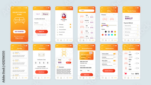 Foto  Set of UI, UX, GUI screens Shopping app flat design template for mobile apps, responsive website wireframes