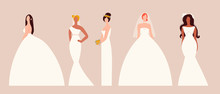 Five Brides In Trendy Wedding Dresses Standing In Various Poses. Fashion Look.  Female Faceless Characters. Hand Drawn Colored Vector Set. Flat Design. All Elements Are Isolated