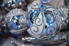 White And Blue Glass Bulbs Wit...