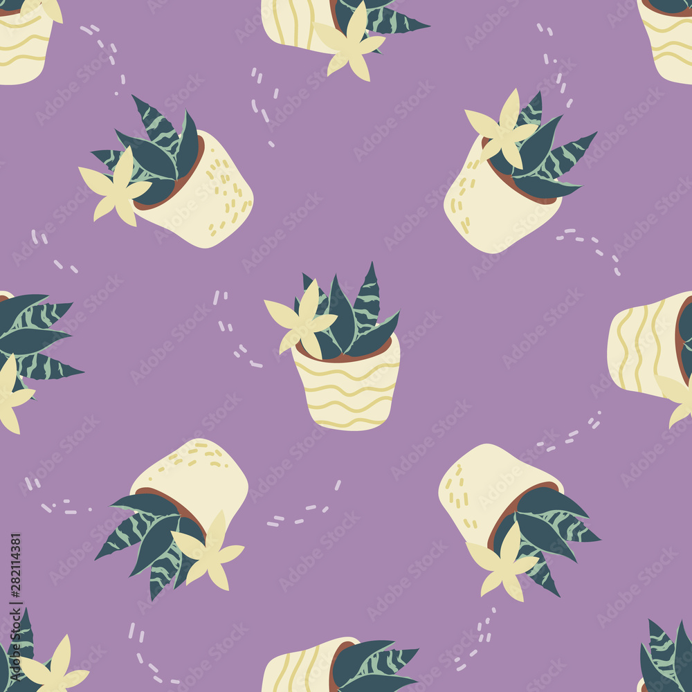 Seamless pattern with home plants flat vector illustration scandinavian style.
