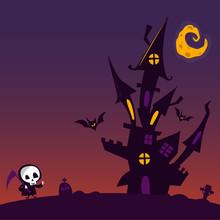 Cartoon Scary Haunted House. H...